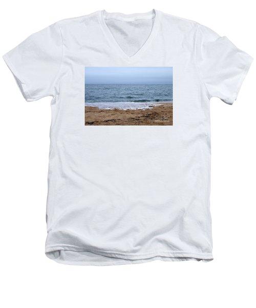 The Splash Over On A Sandy Beach Men's V-Neck T-Shirt by Eunice Miller