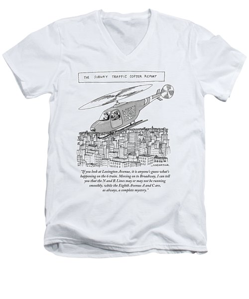 The Subway Traffic Copter Report Features Men's V-Neck T-Shirt