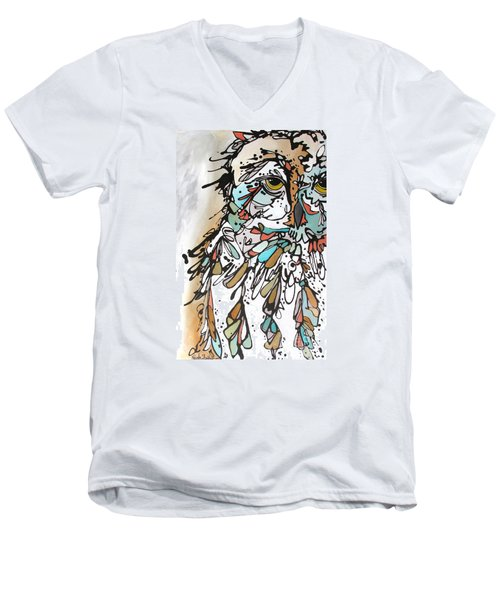 Men's V-Neck T-Shirt featuring the painting The Teacher by Nicole Gaitan
