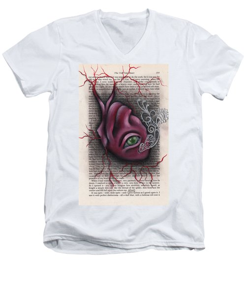 The Tell Tale Heart Men's V-Neck T-Shirt by Abril Andrade Griffith
