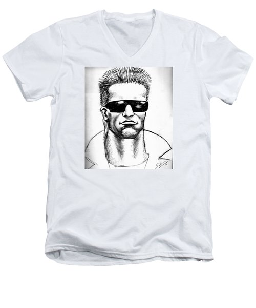 Men's V-Neck T-Shirt featuring the painting Arnold Schwarzenegger by Salman Ravish