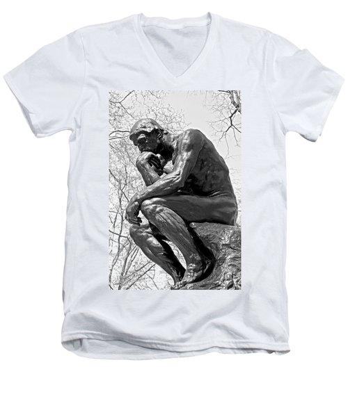The Thinker In Black And White Men's V-Neck T-Shirt