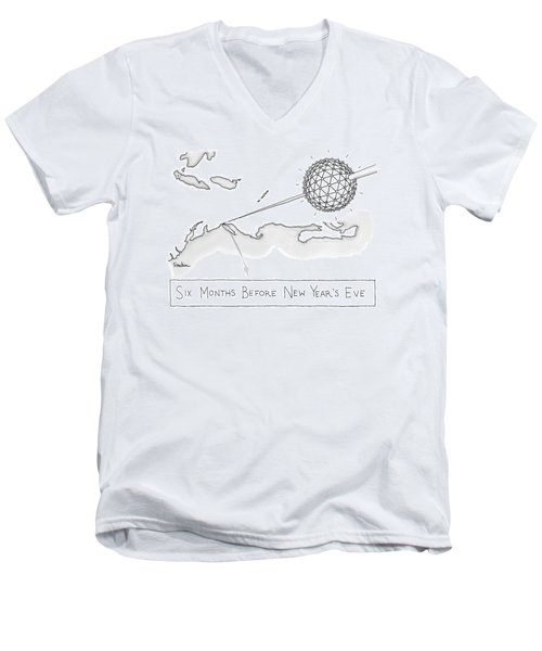 The Times Square Ball Is High Above The Northeast Men's V-Neck T-Shirt