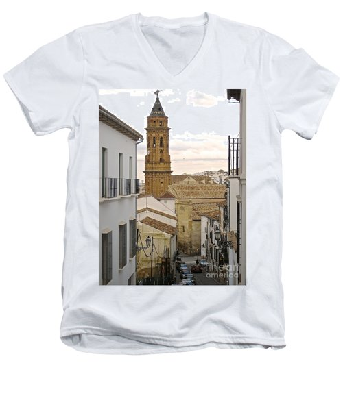 The Town Tower Men's V-Neck T-Shirt by Suzanne Oesterling