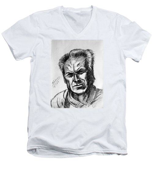 Men's V-Neck T-Shirt featuring the painting Clint Eastwood by Salman Ravish