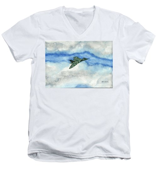 Men's V-Neck T-Shirt featuring the painting The Vulcan Bomber by John Williams