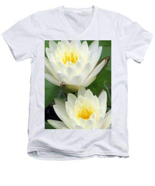 Men's V-Neck T-Shirt featuring the photograph The Water Lilies Collection - 09 by Pamela Critchlow