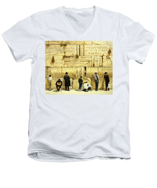 The Western Wall  Jerusalem Men's V-Neck T-Shirt