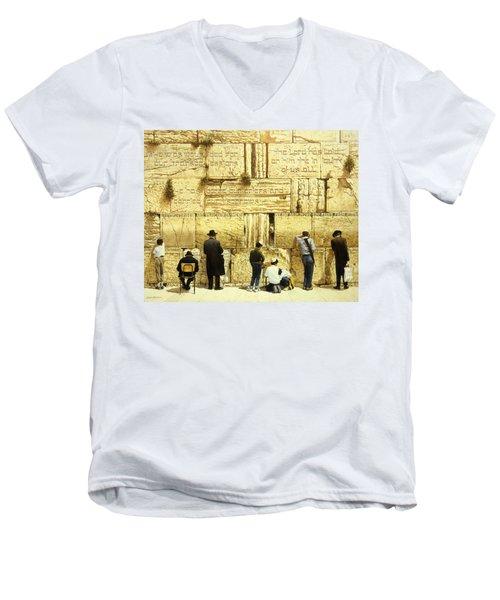 The Western Wall  Jerusalem Men's V-Neck T-Shirt