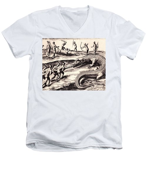 Men's V-Neck T-Shirt featuring the drawing Their Manner Of Killynge Crocodrilles by Peter Gumaer Ogden