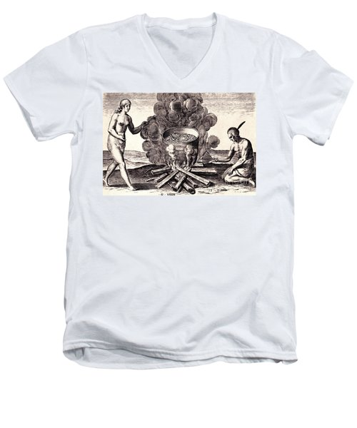 Men's V-Neck T-Shirt featuring the drawing Their Seetheynge Of Their Meate In Earthen Pottes by Peter Gumaer Ogden