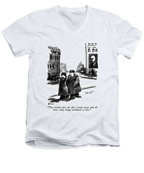 They Should Open The Files - Lenin Never Said All Men's V-Neck T-Shirt