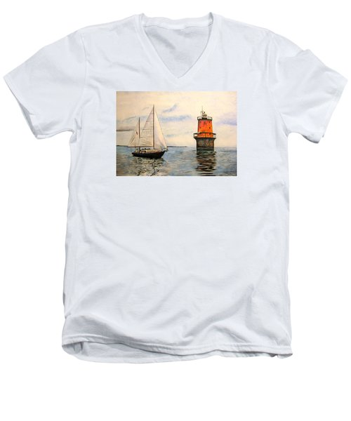 Men's V-Neck T-Shirt featuring the painting Thimble Shoals Light by Stan Tenney
