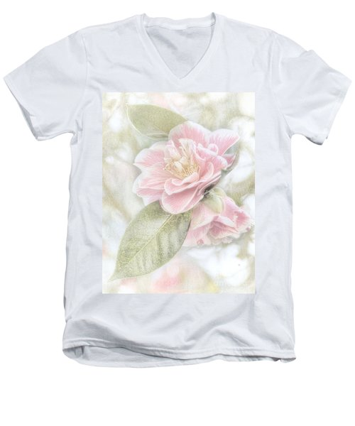 Think Pink Men's V-Neck T-Shirt by Peggy Hughes