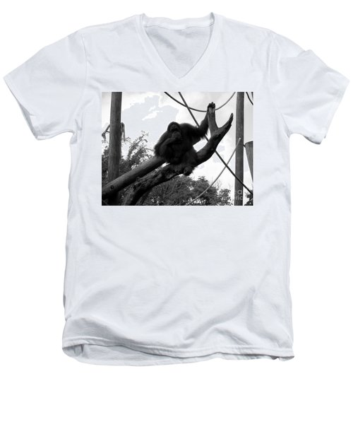 Men's V-Neck T-Shirt featuring the photograph Thinking Of You Black And White by Joseph Baril
