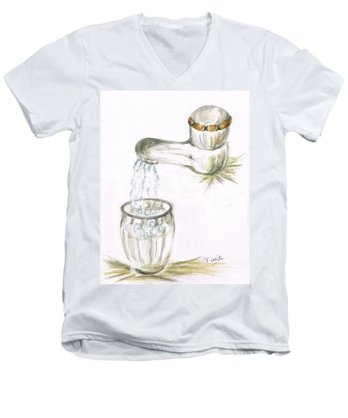 Men's V-Neck T-Shirt featuring the painting Thirsty Of Water by Teresa White
