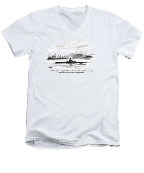 'thirty Days In A Single Scull.' Day 17: Men's V-Neck T-Shirt