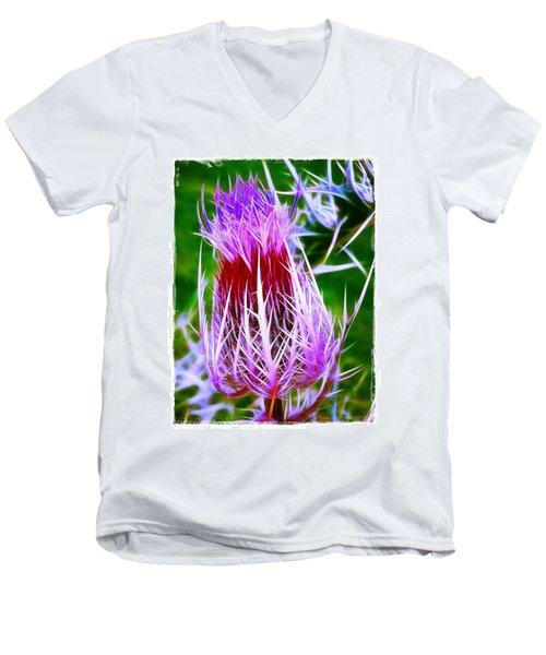 Thistle Men's V-Neck T-Shirt by Judi Bagwell