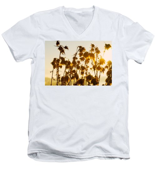 Men's V-Neck T-Shirt featuring the photograph Thistles In The Sunset by Chevy Fleet