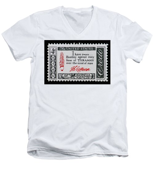 Thomas Jefferson American Credo Vintage Postage Stamp Print Men's V-Neck T-Shirt