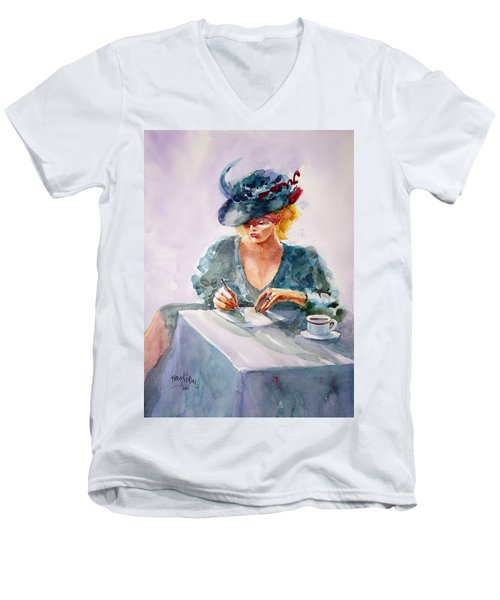 Men's V-Neck T-Shirt featuring the painting Thoughtful... by Faruk Koksal