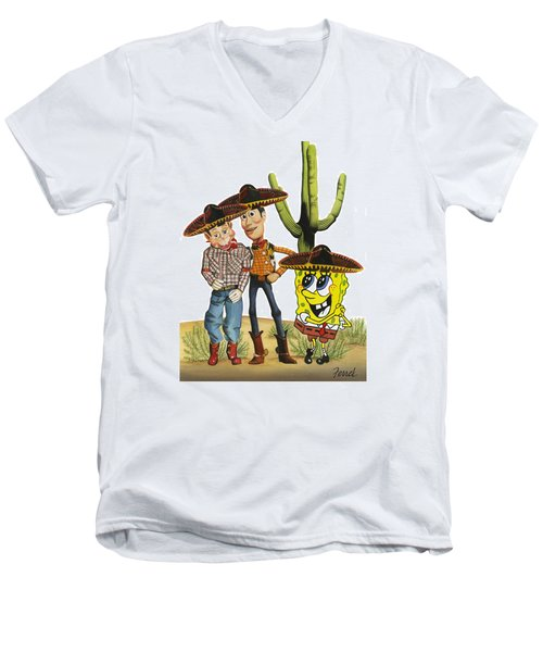 Men's V-Neck T-Shirt featuring the painting Three Amigos by Ferrel Cordle