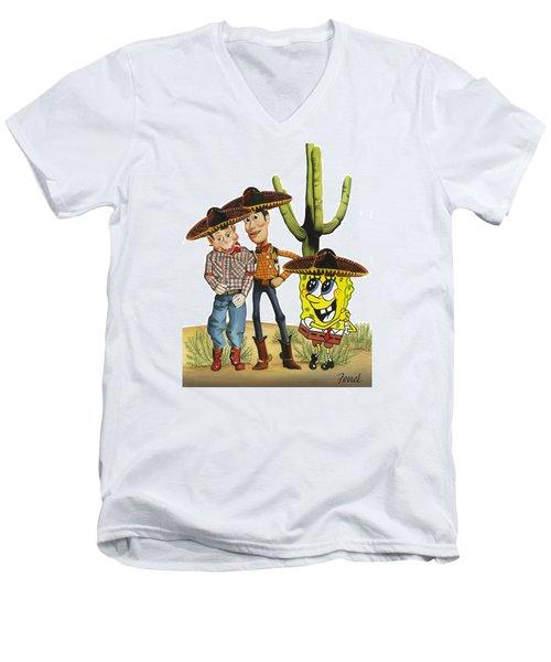 Three Amigos Men's V-Neck T-Shirt by Ferrel Cordle