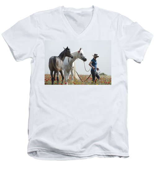 Men's V-Neck T-Shirt featuring the photograph Three At The Poppies' Field... 1 by Dubi Roman