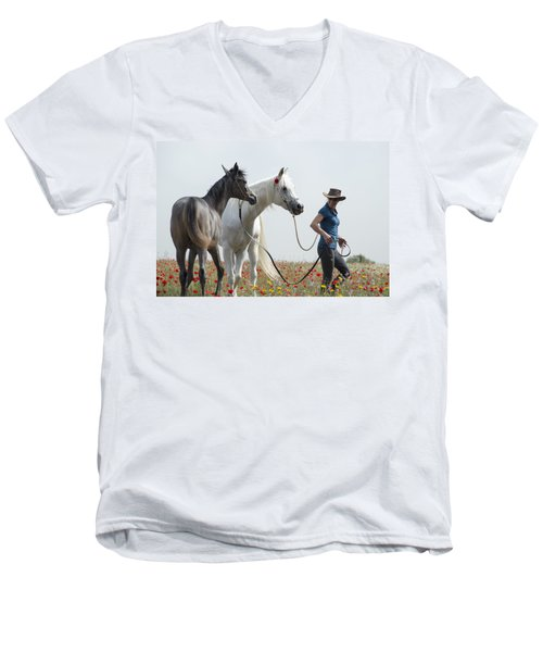 Three At The Poppies' Field... 1 Men's V-Neck T-Shirt