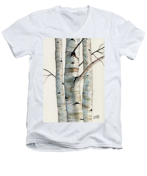 Men's V-Neck T-Shirt featuring the painting Three Birch Trees by Christopher Shellhammer