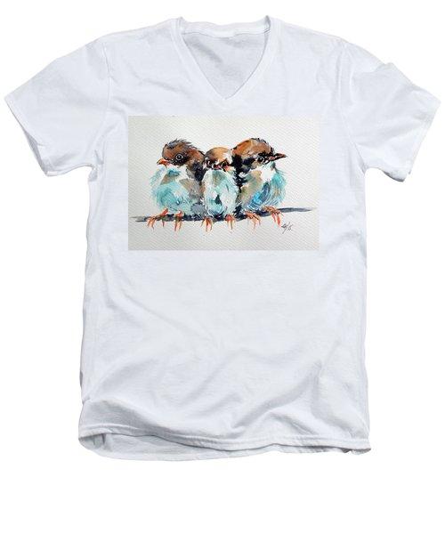 Three Birds Men's V-Neck T-Shirt by Kovacs Anna Brigitta