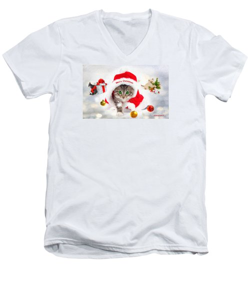 Men's V-Neck T-Shirt featuring the photograph Three Christmas Kittens by Chris Armytage
