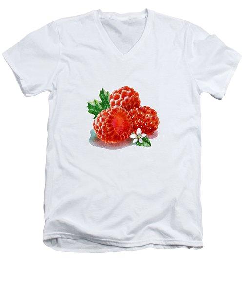 Men's V-Neck T-Shirt featuring the painting Three Happy Raspberries by Irina Sztukowski