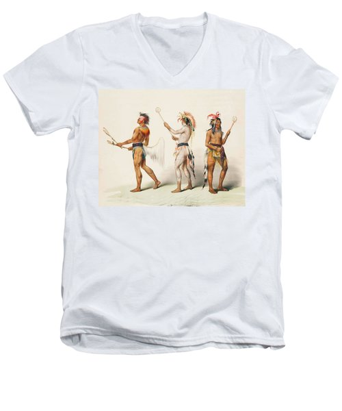 Three Indians Playing Lacrosse Men's V-Neck T-Shirt