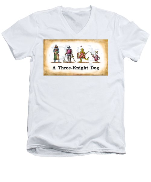 Three Knight Dog Men's V-Neck T-Shirt