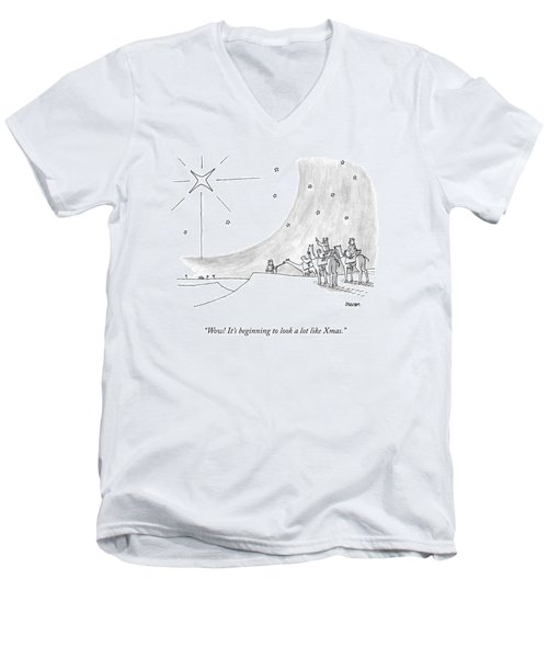 Three Men On Camels Look At The Night Sky.  One Men's V-Neck T-Shirt
