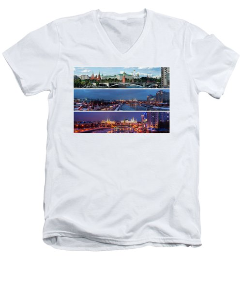 Three Panoramas Of Moscow Kremlin - Featured 3 Men's V-Neck T-Shirt