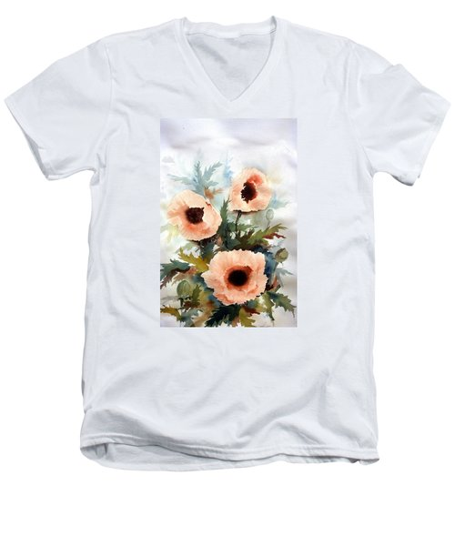 Men's V-Neck T-Shirt featuring the painting Three Poppies by William Renzulli
