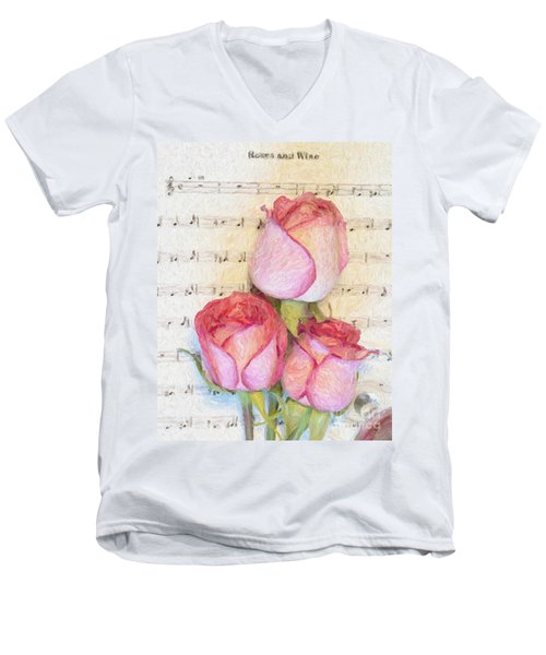 Three Red Roses And Wine 2 Men's V-Neck T-Shirt