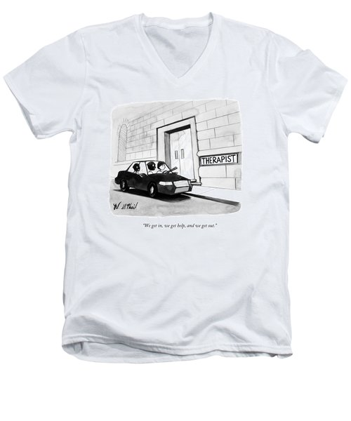 Three Robbers Sit In A Car Outside A Building Men's V-Neck T-Shirt