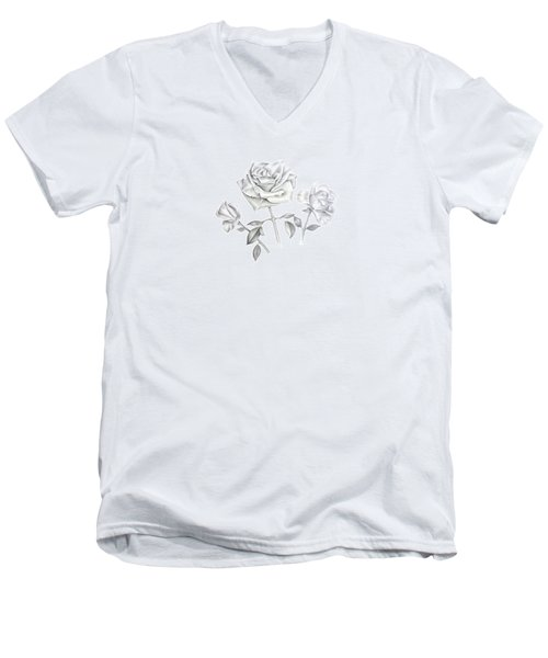 Men's V-Neck T-Shirt featuring the drawing Three Roses by Elizabeth Lock