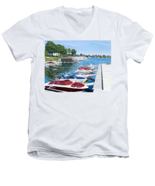 Men's V-Neck T-Shirt featuring the painting T.i. Park Marina by Lynne Reichhart