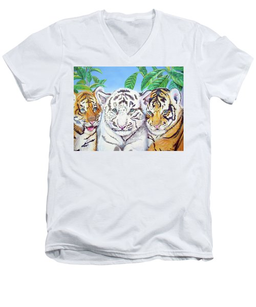 Men's V-Neck T-Shirt featuring the painting Tiger Cubs by Thomas J Herring
