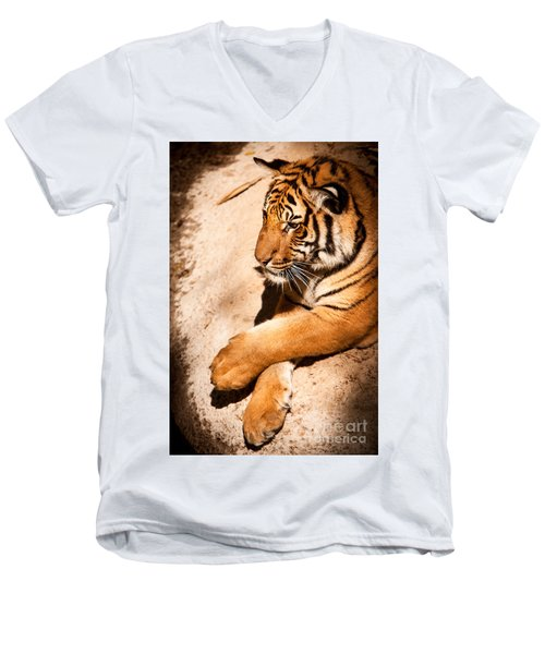 Men's V-Neck T-Shirt featuring the photograph Tiger Resting by John Wadleigh