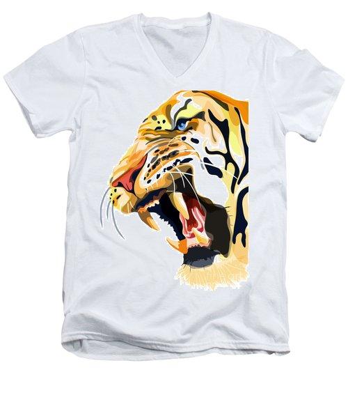 Tiger Roar Men's V-Neck T-Shirt by Sassan Filsoof