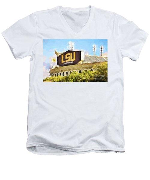 Tiger Stadium Men's V-Neck T-Shirt by Scott Pellegrin