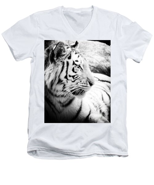 Men's V-Neck T-Shirt featuring the photograph Tiger Watch by Erika Weber