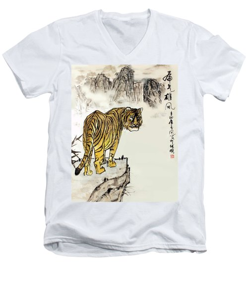 Men's V-Neck T-Shirt featuring the painting Tiger by Yufeng Wang