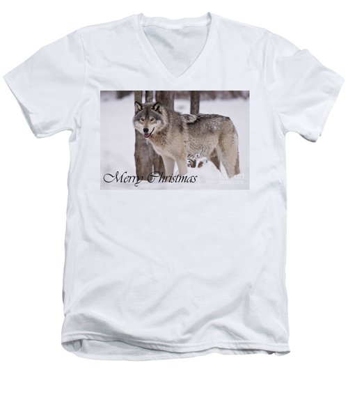 Timber Wolf Christmas Card English 3 Men's V-Neck T-Shirt