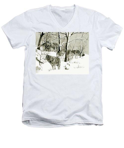 Timber Wolf Pack Men's V-Neck T-Shirt